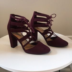 Suede Wine Tie Up Heels